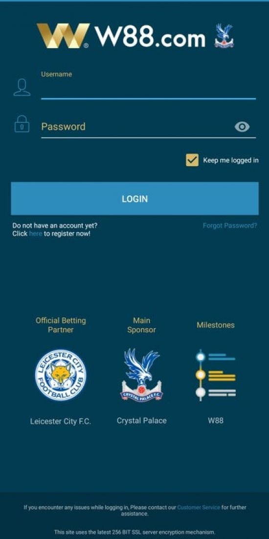 Download W88 Now on Your Phone - Login Page